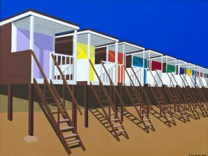 Beach Huts - 60x80 cm acrylic on board. An early example of my interest in perspective, colour and pattern. Near where I live - Shoeburyness .