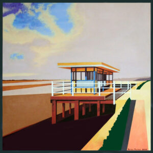 Beach Shelter - Acrylic on paper 62x62 cm. An old and decrepit beach shelter in Leigh-on-Sea which caught my eye and had to be painted