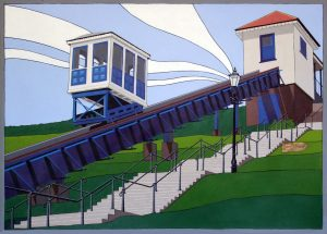 The Cliff Lift - Acrylic on paper 50x70 cm