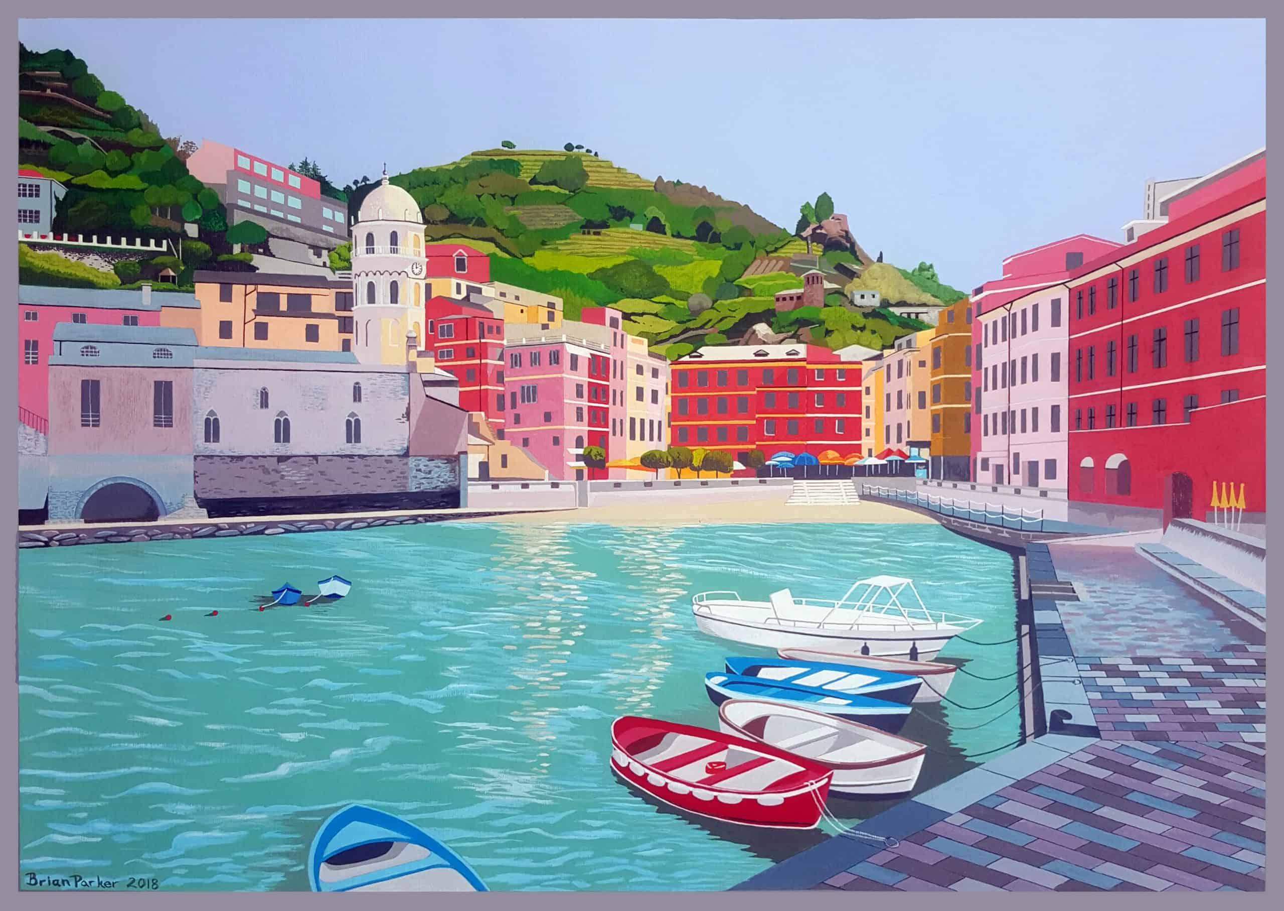 Cinque Terre – Manarola - 50 x 70cm Acrylic on paper