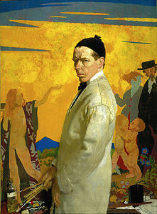 William Orpen, self-portrait painting Sowing New Seed (1913)