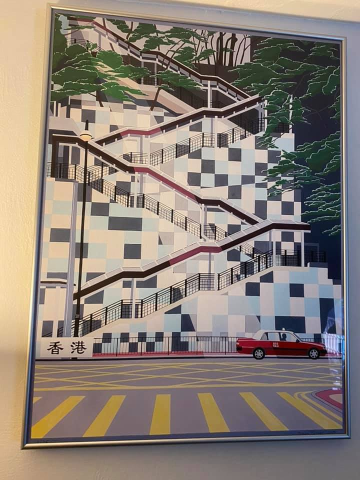 One of my prints hanging in Santa Rosa, California