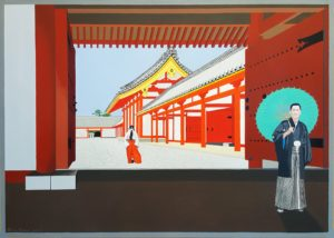 A temple in Kyoto enlivened by the insertion of two interesting figures.