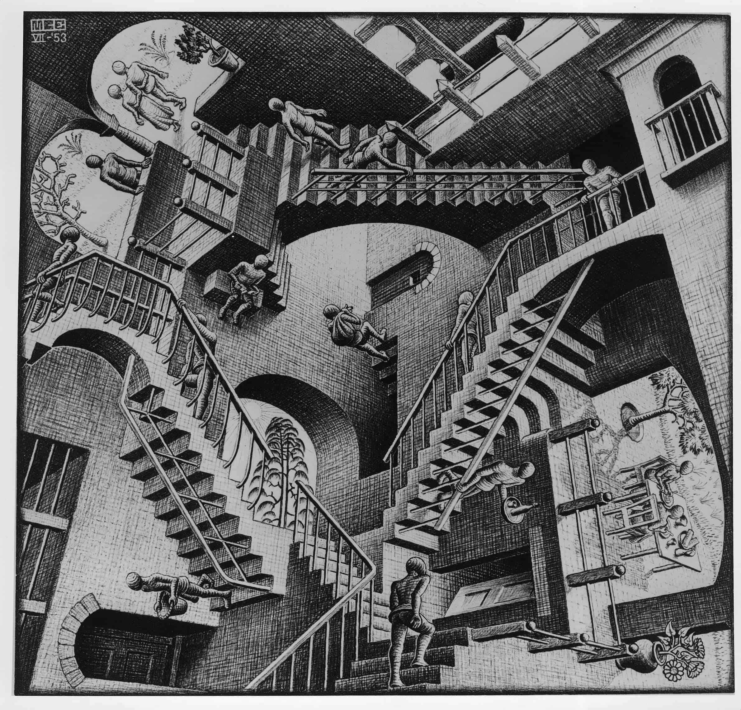"""M.C. Escher, """"Relativity."""" Copyright 2017 The M.C. Escher Company, The Netherlands. All rights reserved. www.mcescher.com"""